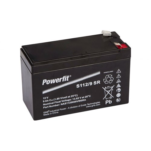 EXIDE SØNNAK POWERFIT 12v 9ah S112/9SR NB:Bred stift